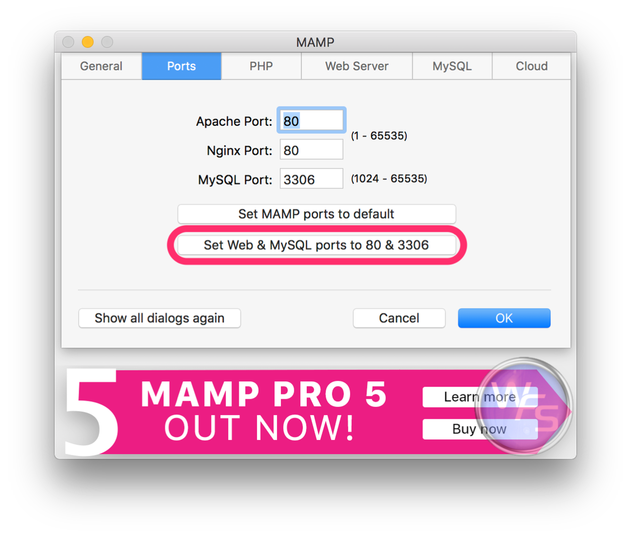 Dropbox xampp mamp mac setting03