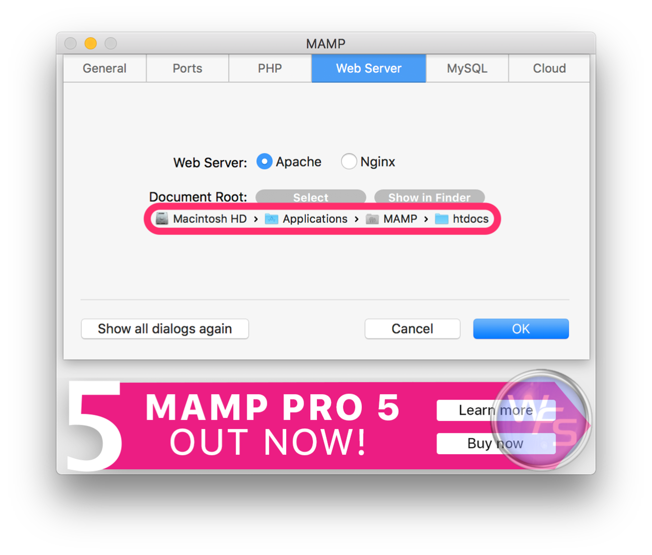 Dropbox xampp mamp mac setting04