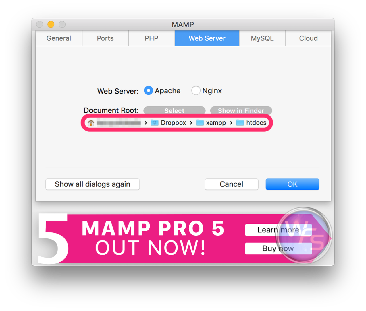 Dropbox xampp mamp mac setting05