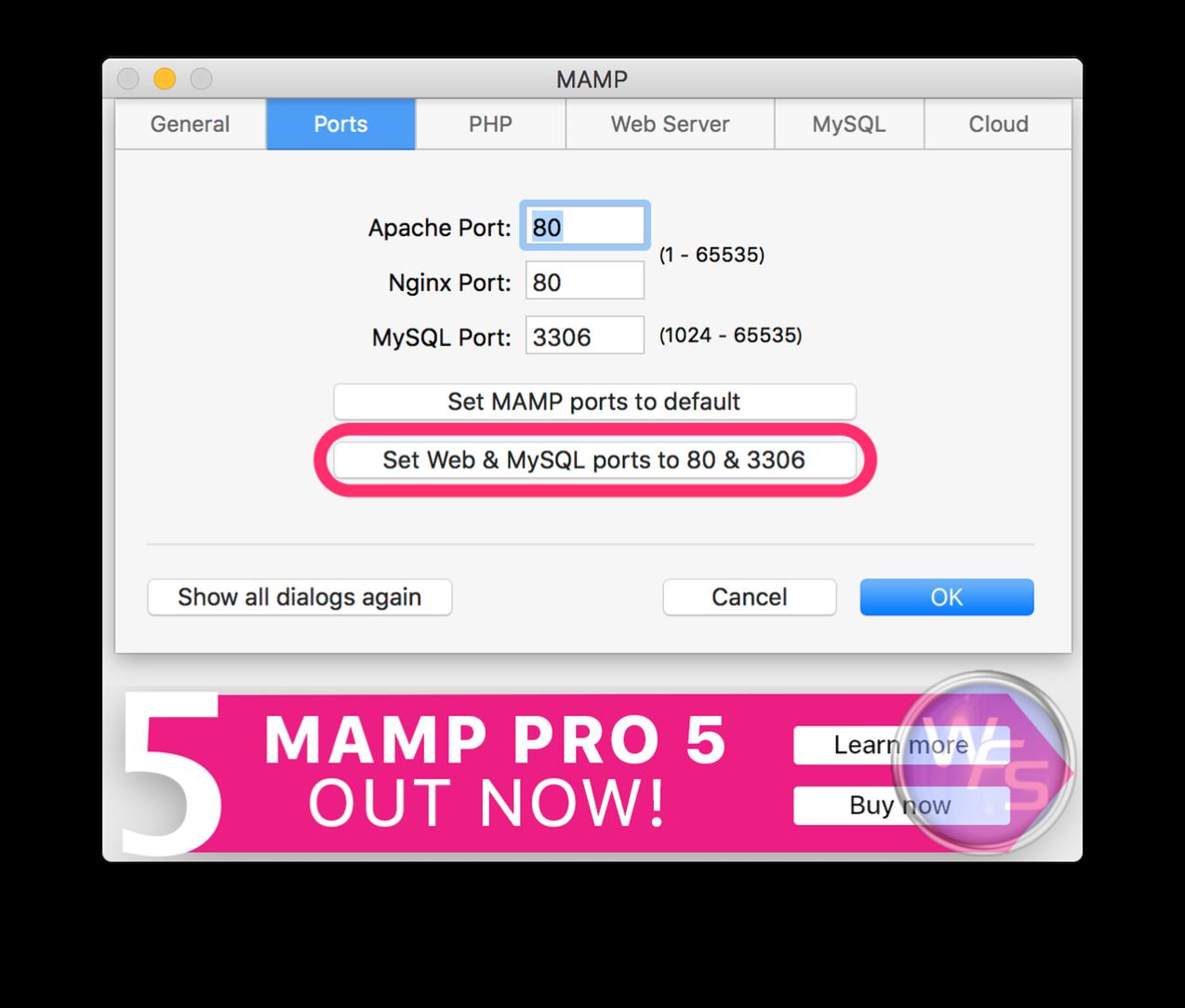 Dropbox xampp mamp mac setting03