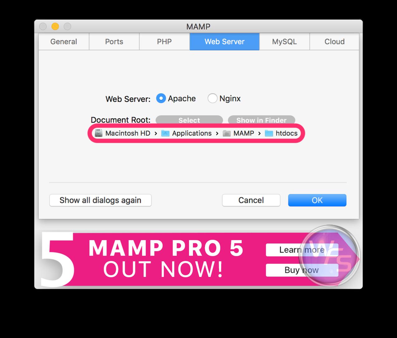 Dropbox xampp mamp mac setting04