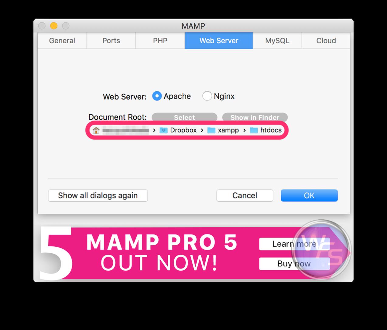 Dropbox xampp mamp mac setting05